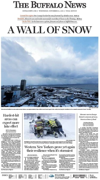 image of the front cover of the Buffalo News from the 2014 snowvember storm