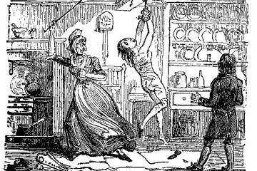 An etched image of a angry woman whipping a naked girl hanging from the ceiling from her wrists
