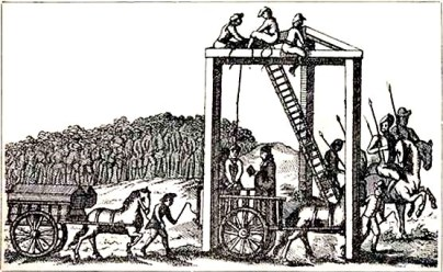 A black and white etching of a horse and wagon leading to a gallows with men on it testing the ropes