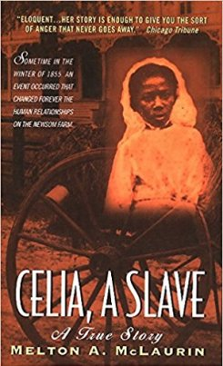 image of a book cover with a wagon wheel, slave cabin, and superimposed image of a young black girl dressed in white