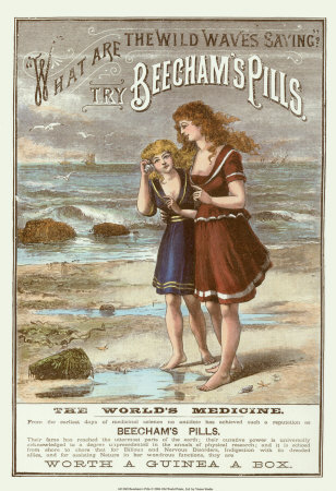 An advertisement showing two young women walking on a beach