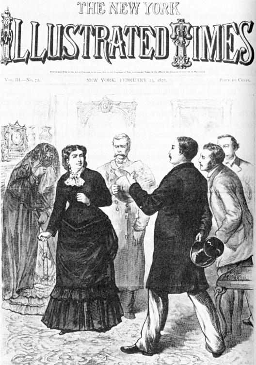 A black and white etching of a well dressed white woman being approached by a white man in a black suit