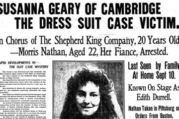 An old newspaper front page with a black and white photograph of a white woman