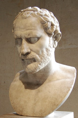 a marble bust of a bearded man