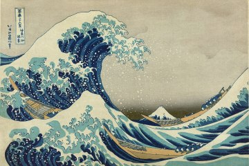 The Great Wave of Kanagawa Katsushika a Japanese painting of a blue and white wave overtaking several boats