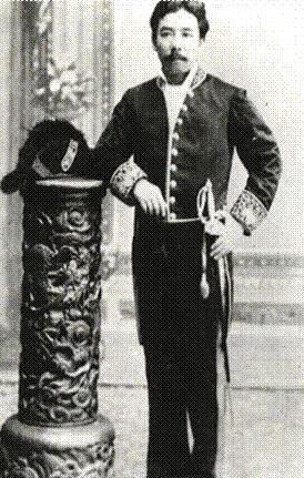 A portrait of Miyaki Kozo wearing a suit during the Meiji Restoration