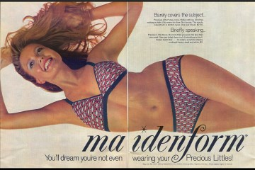 An advertisement of a reclining woman wearing maidenform underwear and bra