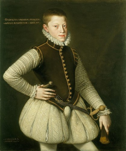 Painting of an adolescent boy wearing hose and a codpiece