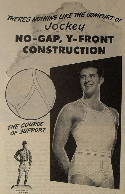 A vintage ad with a young man wearing white Jockey briefs and tank