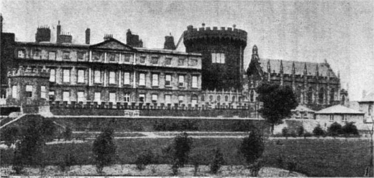 A black and white photograph of Dublin Castle