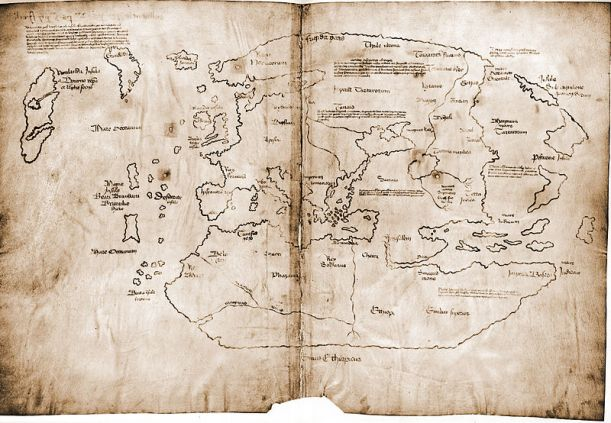 A sepia toned, hand drawn ancient map depicting Europe, Greenland, and part of Northern Canada