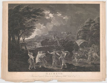 An etching of a windy landscape with three witches and scotsmen talking in the foreground