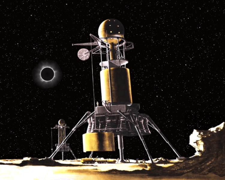 a painting of a lunar module on the surface of the moon with an eclipse in the background