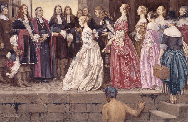 A painting depicting several filles du roi arriving in French Canada