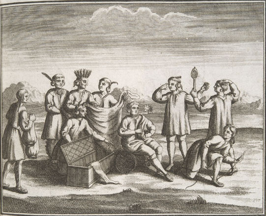 an engraving of several native american people trading goods like blankets with european men