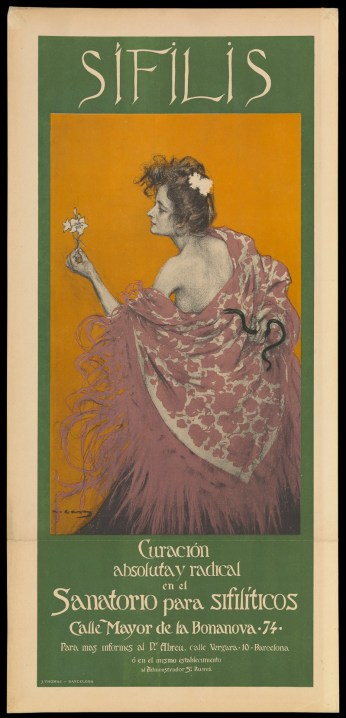 A spanish poster depicting syphilis as a lovely but deadly woman