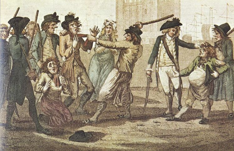 A caricature of a press gang, 1780