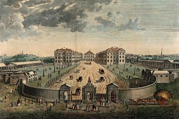 A bird's eye view painting of the Lond Foundling Hospital in 1753