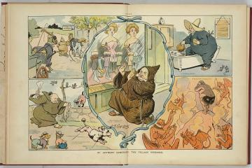 A cartoon depicting Anthony Comstock trying to arrest even dogs and cats for obscenity