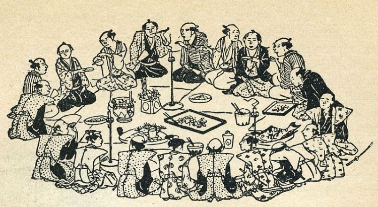 A black and white illustration of several Japanese people sitting in a circle eating together at a wedding