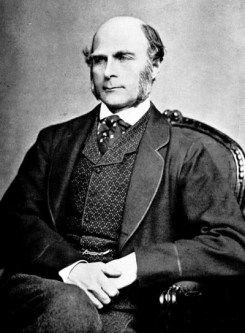 a black and white photograph of Francis Galton