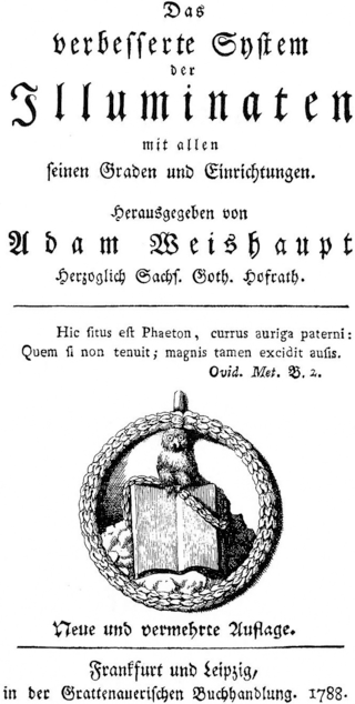 "The Owl of Minerva perched on a book was an emblem used by the Bavarian Illuminati in their ""Minerval"" degree."