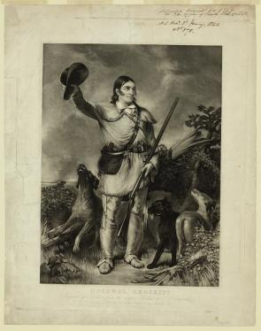 A lithograph of Davy Crockett in a rural setting, wearing leather clothing, surrounded by dogs