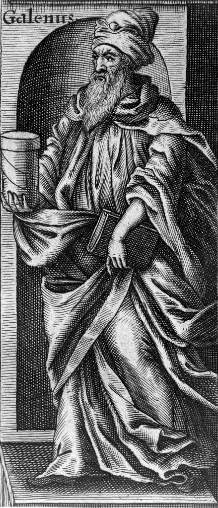 Line engraving of Galen