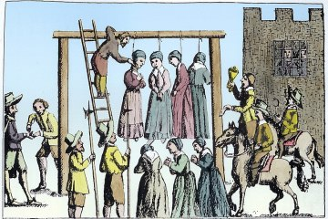 an 18th century public hanging