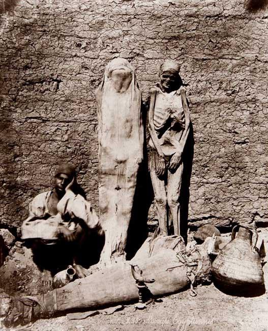 Street vendor selling mummies in Egypt