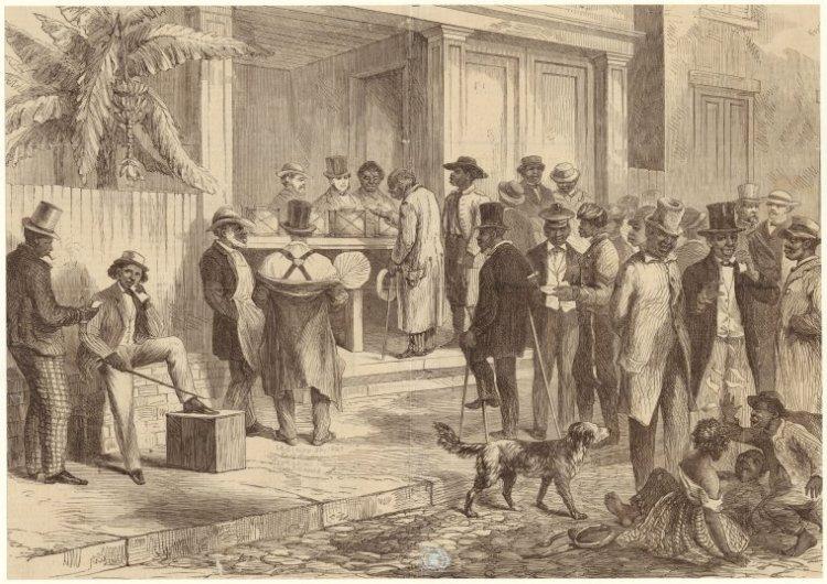 Freedmen voting in New Orleans in 1867