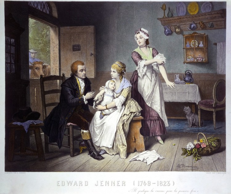 Edward Jenner vaccinating his son, held by Mrs Jenner