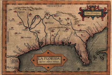 """Map of the Spanish province of """"La Florida,"""" which included most of the southeastern United States."""