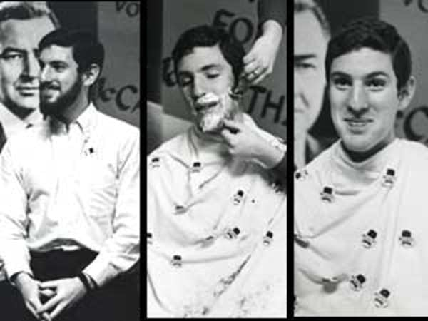 three photo panels showing a young man receiving a shave to support Senator for Eugene McCarthy