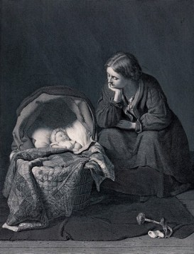 An engraving of young mother sits and looks at her baby who is asleep in the crib