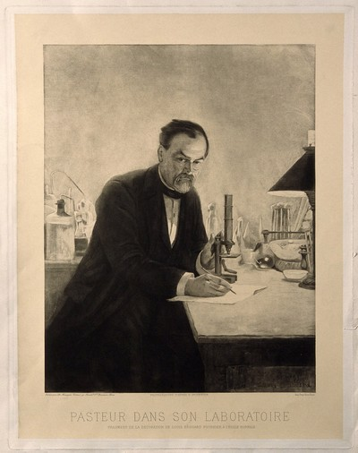 A black and white image of Louis Pasteur, posing with a microscope and writing with a pencil. In the background is a science lab with beakers and bottles.