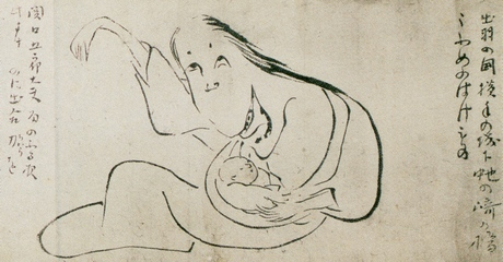 A black and white Japanese line painting of a ghostly woman holding a baby