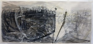 Point in Time, Mixed Media drawing on paper, 120 x 56cm amc 2014