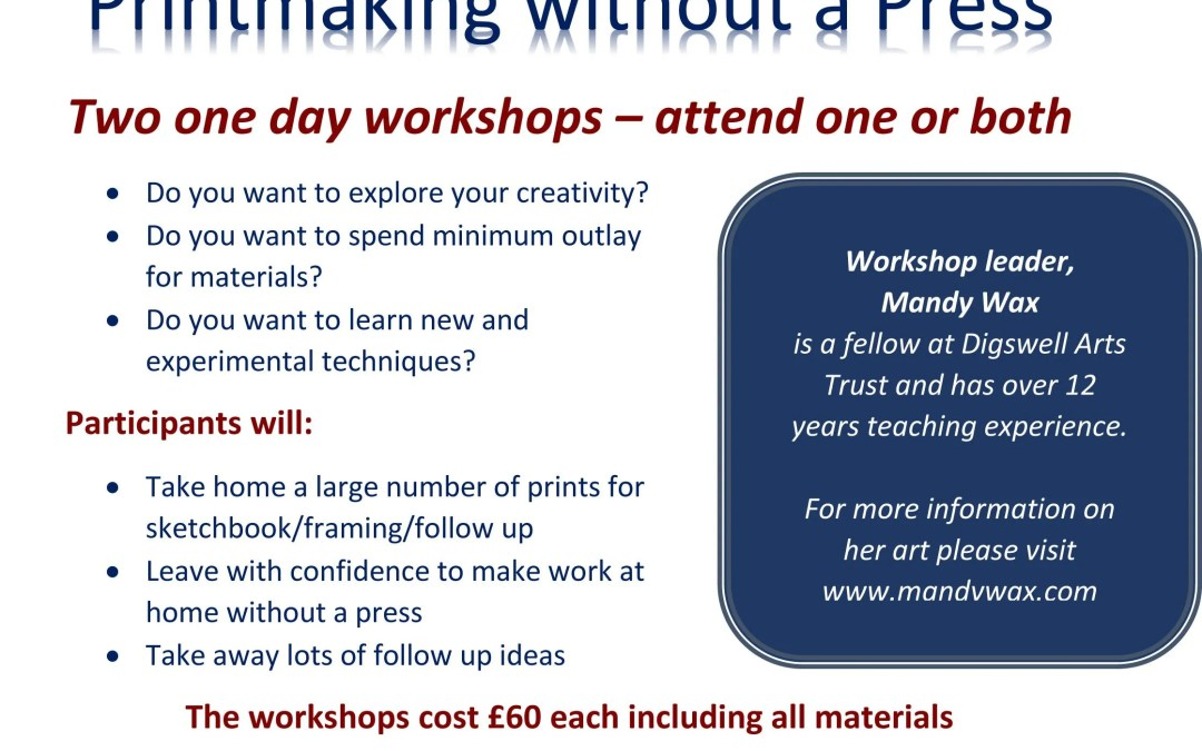 Printmaking without a Press – Workshops with Mandy Wax