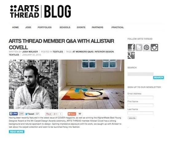 Allistair Covell: Q&A with ARTS THREAD