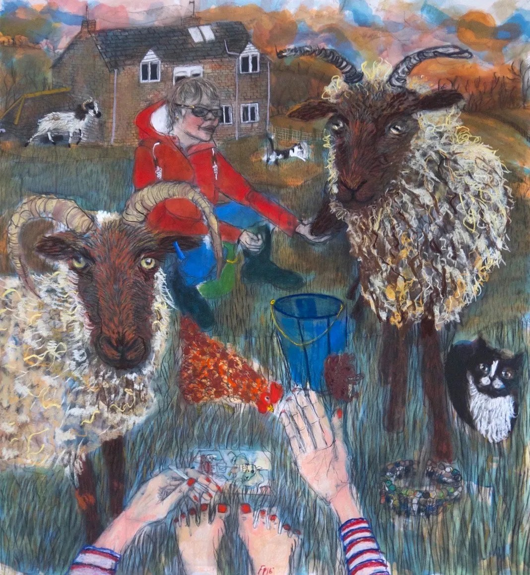 Alice joint owner of Sheepfold, member of Woolclip, and Manx Loaghtan sheep breeder, 128 x 138 cm, Conte and Ink on Paper
