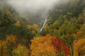Cascade Lake Falls - must-see Fall foliage waterfalls in the Adirondacks!
