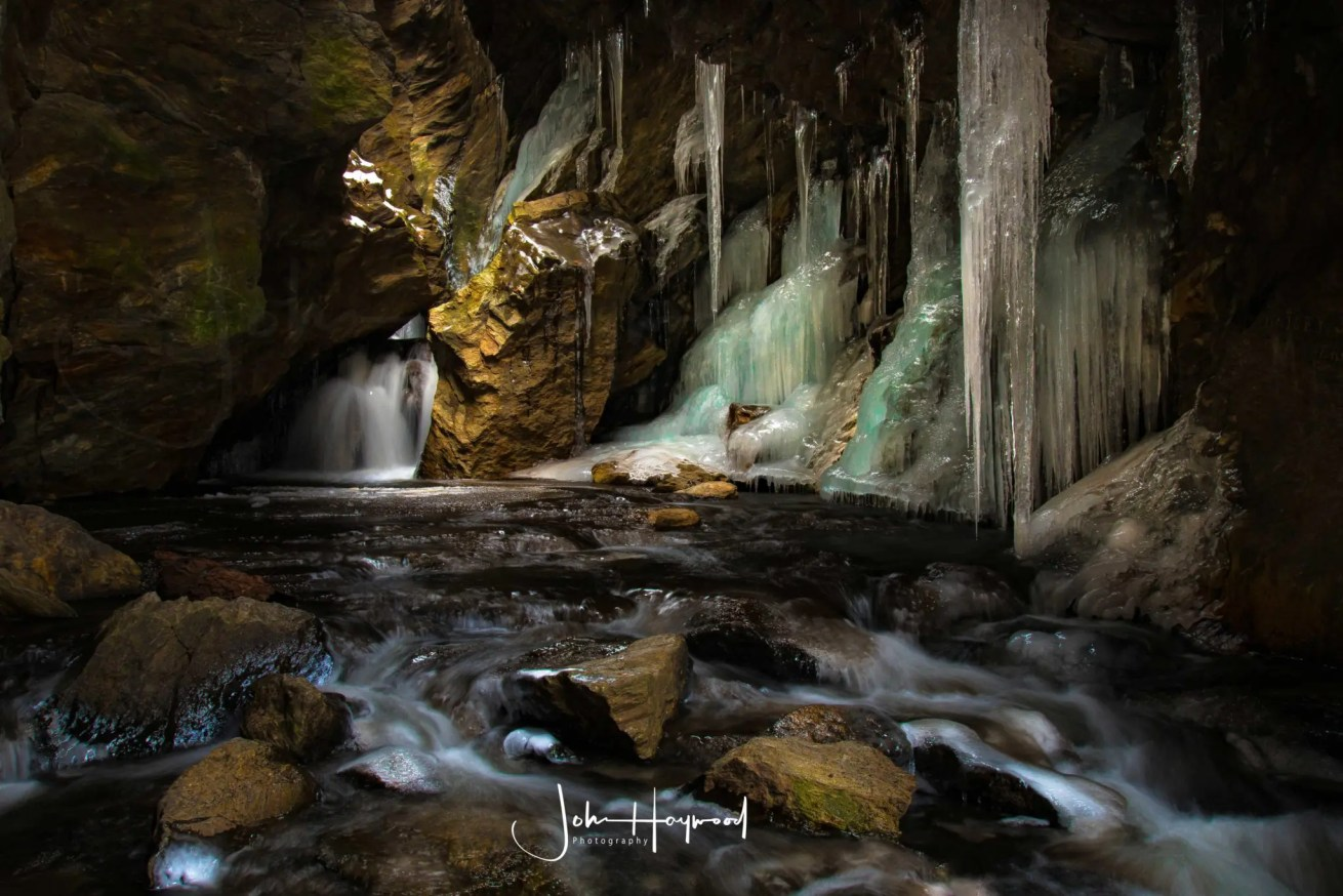 Dover Stone Church cave with waterfalls and ice hanging