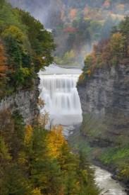 waterfalls, trees, river