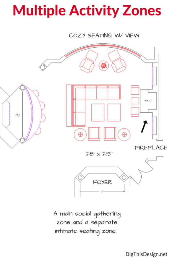 living room furniture layout for multiple activity zones two seating groups