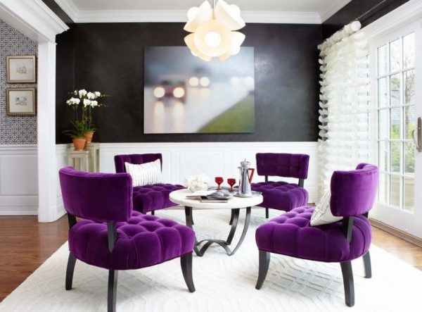 Fall Décor - Velvet chairs as accent pieces in a dining room.