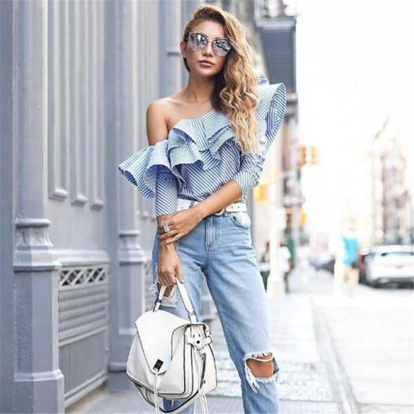 Fashion Top Trends - One-Shoulder-Ruffle-Blouses-And-Shirts-Elegant-Blue-Striped-Off-Shoulder-Tops-Female-Shirt-Long-Sleeve-Ruffle-Top