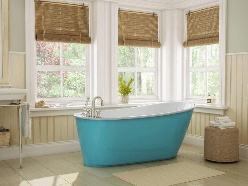 Bathroom renovation blue eggshell tub