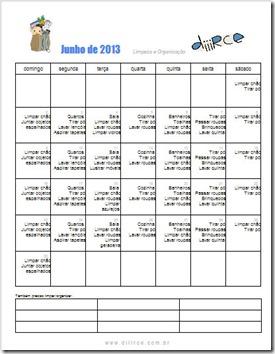 calendario de limpeza e organização