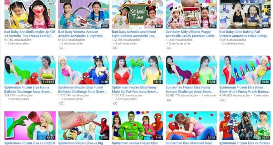 Vídeos impróprios para crianças